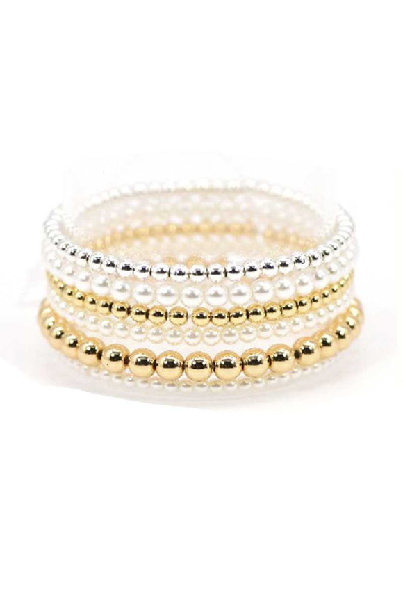 Gold Pearl And Metallic Balls Stretch Bracelet
