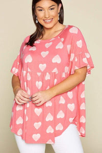 Tops Coral / 1XL Plus Size Adorable Heart Jersey Babydoll Tunic Top