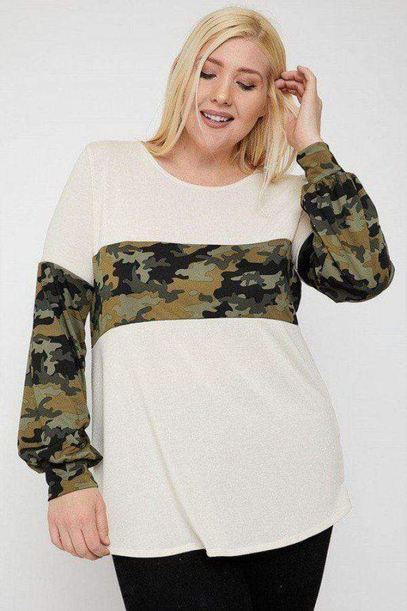 Plus Size Animal Print Round Neck Top- Assorted Colors