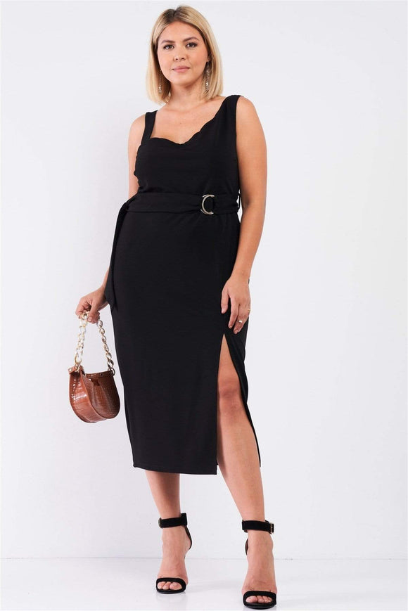 Plus Size Asymmetrical Shoulder Dress- Assorted Dress