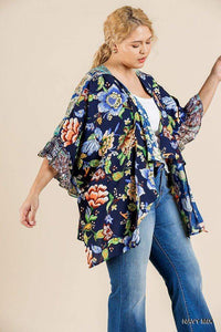 Tops Plus Size Bell Sleeve Duster-Navy/Emerald