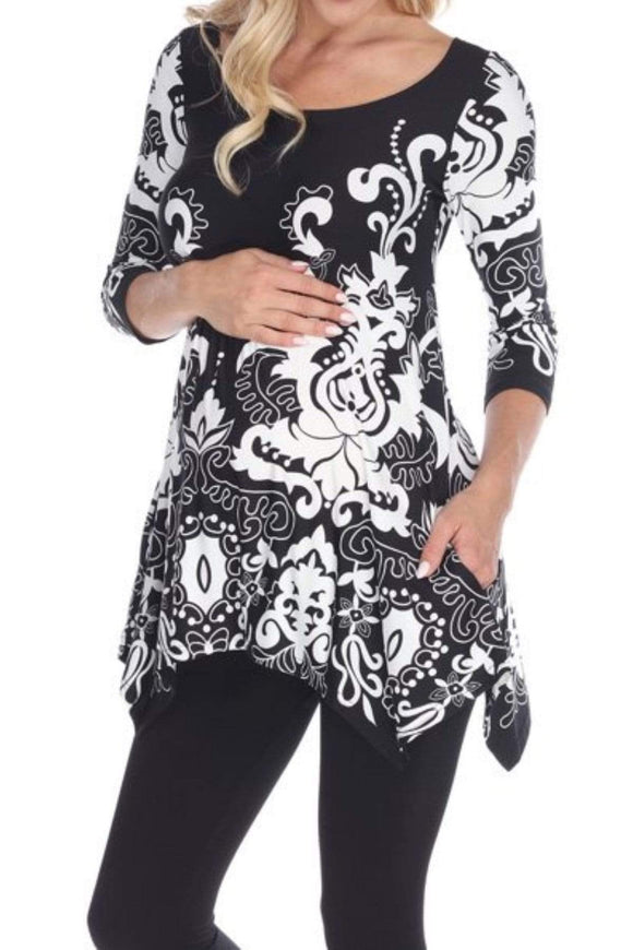 1X / BLACK Plus Size Bold Floral Print Maternity Top- Assorted Colors