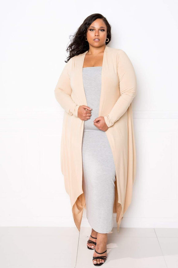 Sweaters & Outerwear Tan Beige / One Size Plus Size Bubbled Hem Waterfall Cardigan- Assorted Colors