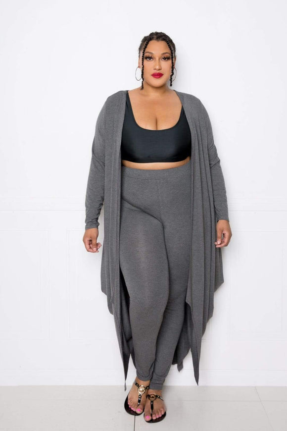 Sweaters & Outerwear Charcoal Grey / One Size Plus Size Bubbled Hem Waterfall Cardigan- Assorted Colors