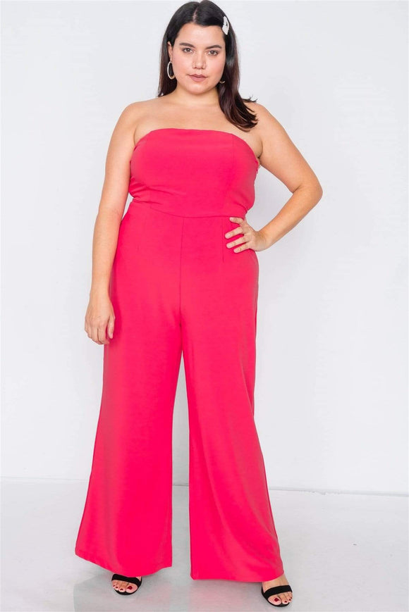 1 and 2 pc Sets Magenta / 1XL Plus Size Buckle Cut-out Jumpsuit-Magenta/Black