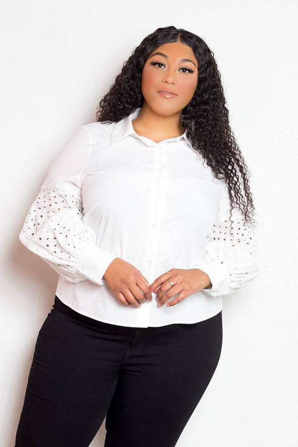 Tops White / 1XL Plus Size Button Down Cut Out Sleeve Top