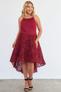 Plus Size Cabernet Square Neckline Hi-low Floral Lace Maxi Dress