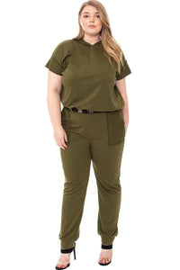 Plus Size Camo Detailed Jogger Plus Size Set- Olive/Black