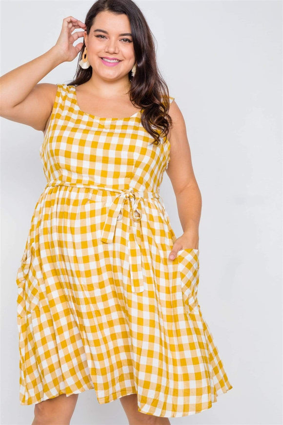 Dresses Yellow  Plaid / 0XL Plus Size Checkered Gingham Midi Dress- Yellow/Black