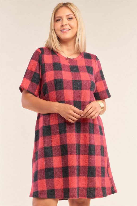 Plus Size Checkered Short Sleeve Sweater Mini Dress- Red/Mustard