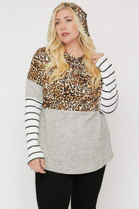 Plus Size Cheetah Print Hoodie Top- Assorted Colors