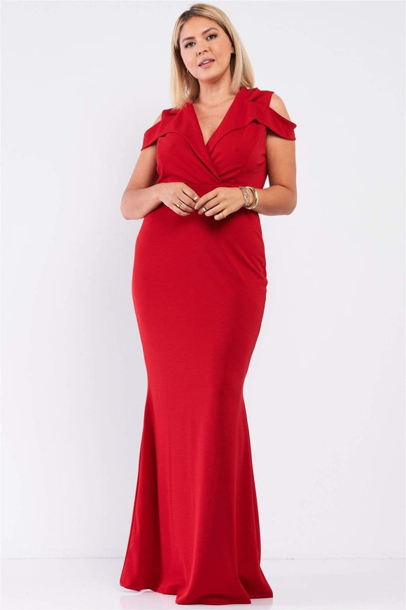 Plus Size Collared Plunging V-neck Dress- Red