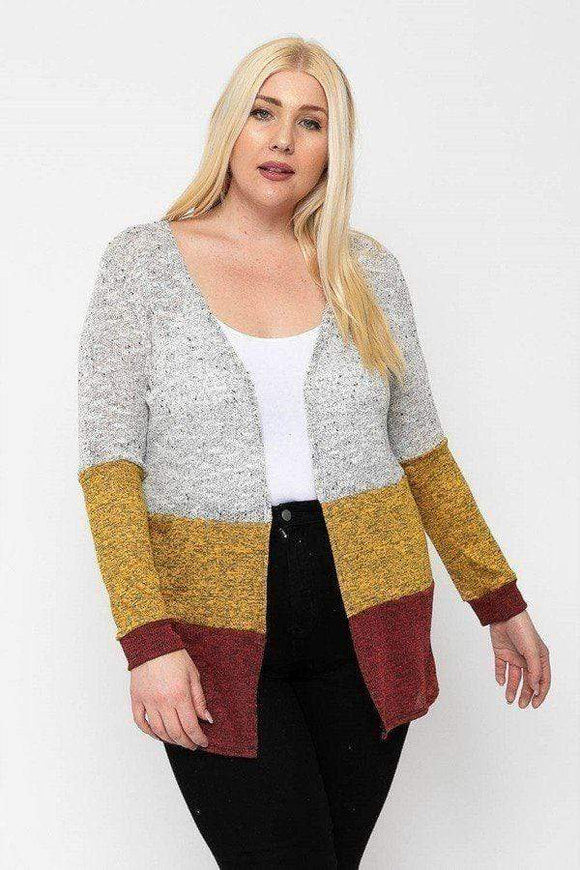 Tops Plus Size Color Block Lightweight Cardigan- Assorted Colors