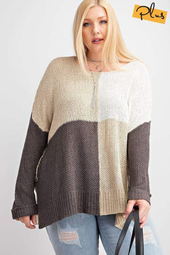 Plus Size Color Block Long Sleeve Knitted Sweater