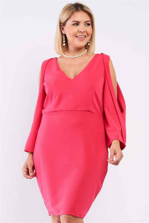 Plus Size Coral Pink Plunging Mini Dress