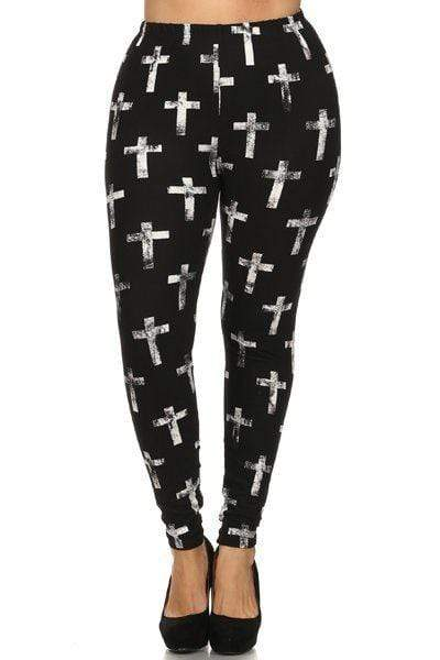 Multi Plus Size Cross Print High Waist Lined Leggings
