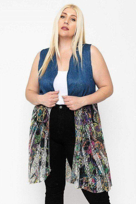 Tops Plus Size Denim and Lace Short Duster
