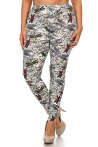 Multi Plus Size Dragonfly Print, Full Length Leggings In A Fitted Style With A Banded High Waist.