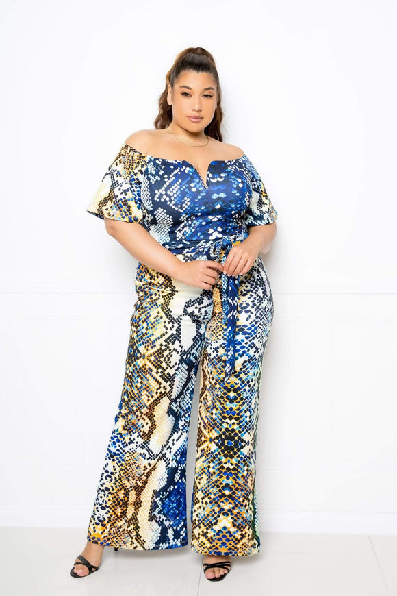 1 and 2 pc Sets Plus Size Drop Shoulder Multi Snake Print Jumpsuit