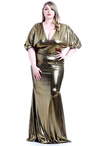 Dresses Green / 1XL Plus Size Elegant Metallic Ribbed Dress