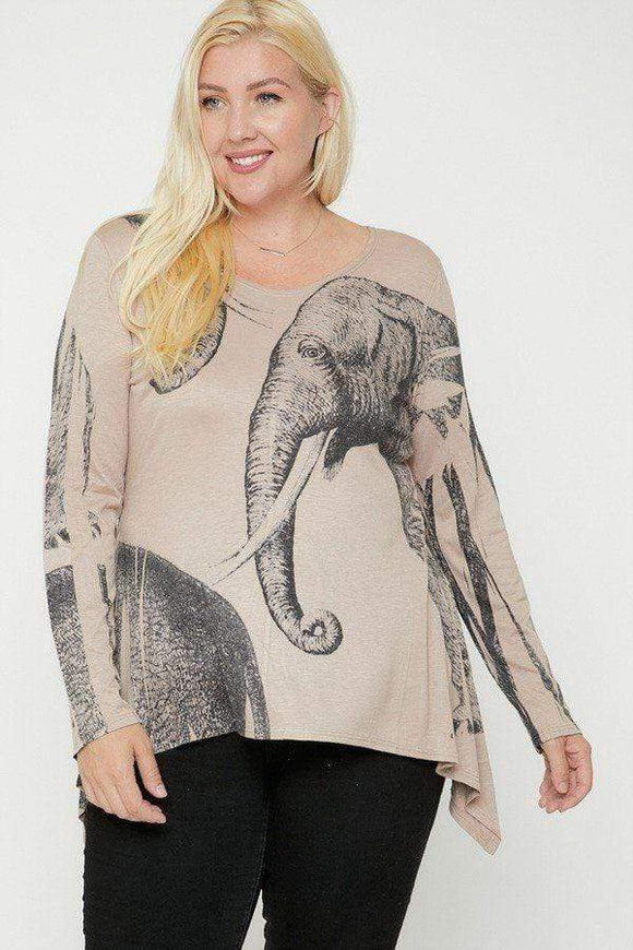Plus Size Elephant Sublimation Print Top- Mocha