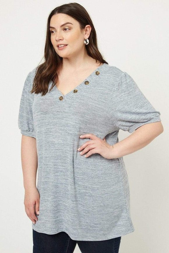 Tops Heather Grey / 1XL Plus Size Faux Button Top-Heather Grey/Sage