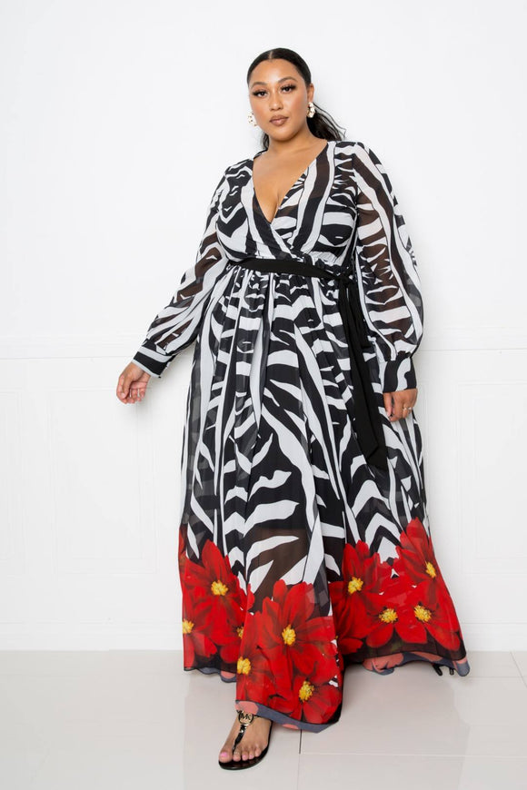 Plus Size Faux Wrap Zebra Printed Maxi Dress- Multi
