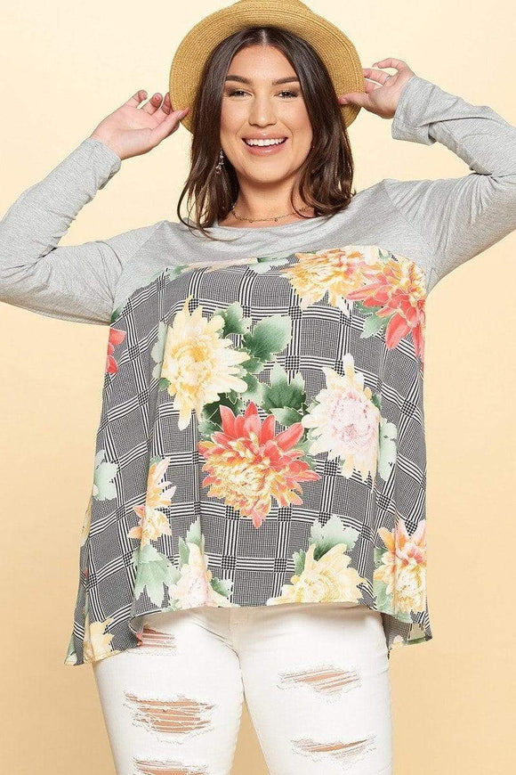 Tops Heather Grey / 1XL Plus Size Floral Check Panel Top