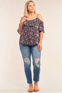 Plus Size Floral Off-the-shoulder Flared Top- Navy/Ivory