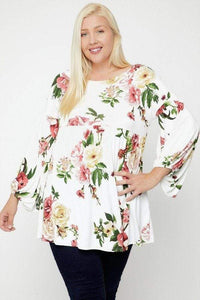 Tops Plus Size Floral Print Bubble Sleeve Tunic- Assorted Colors