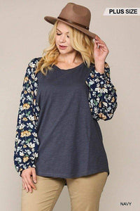 Plus Size Floral Print Dolman Sleeve Top- Assorted Colors