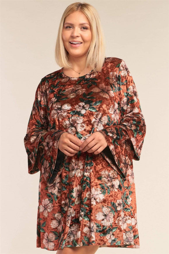 Plus Size Floral Print Velvet Layered Hem Dress- Rust/Black