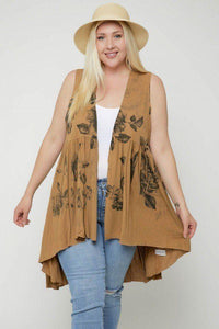 Tops Plus Size Floral Sublimation Print  Sleeveless Cardigan Vest