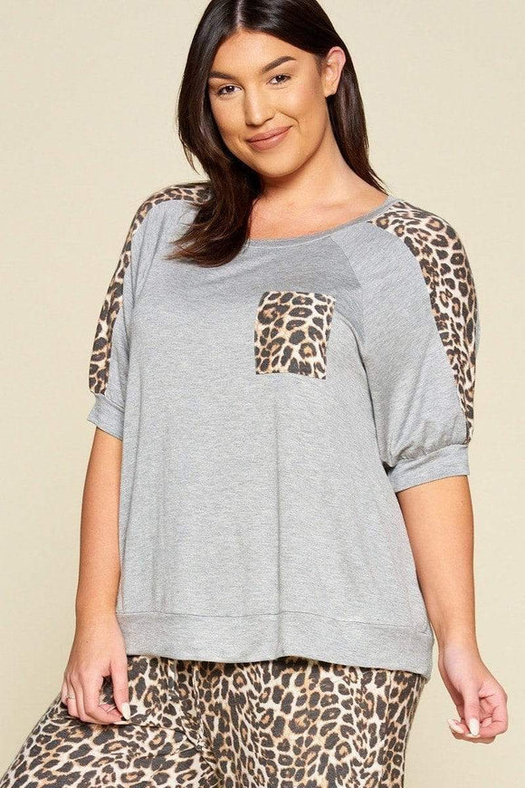 Tops Grey / 1XL Plus Size French Terry Leopard Top- Grey/Ivory