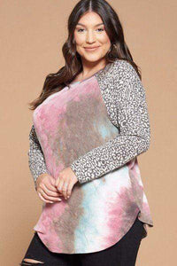 Blue/Grey / 1XL Plus Size French Terry Tie Dye Top- Assorted Colors