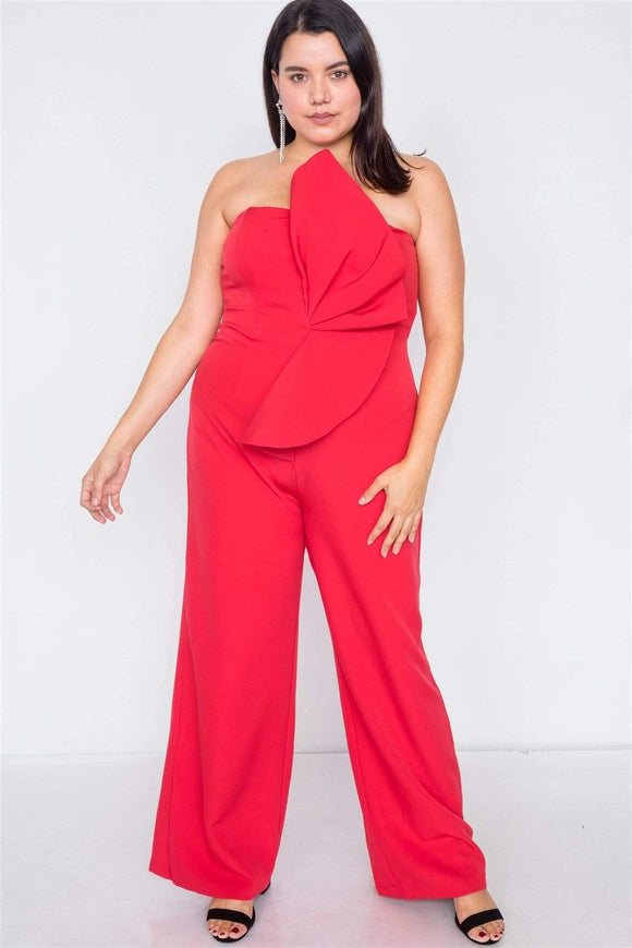 1 and 2 pc Sets Red / 1XL Plus Size Frill Cocktail Jumpsuit- Red/Black