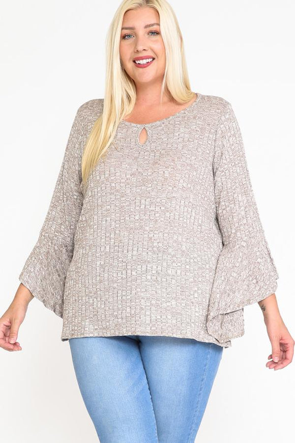 Plus Size Front Keyhole Bell Sleeve Top