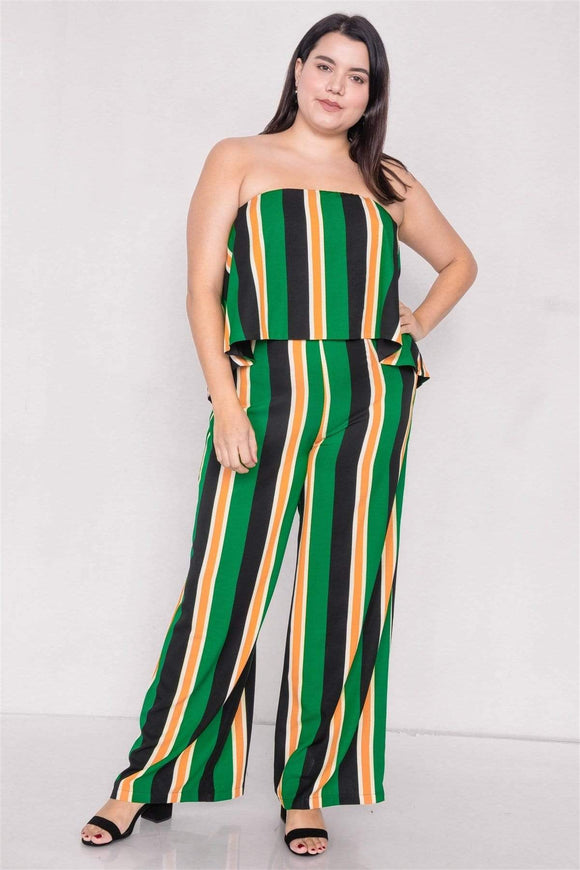 1 and 2 pc Sets Plus Size Green Multi Stripe Open Back Jumpsuit