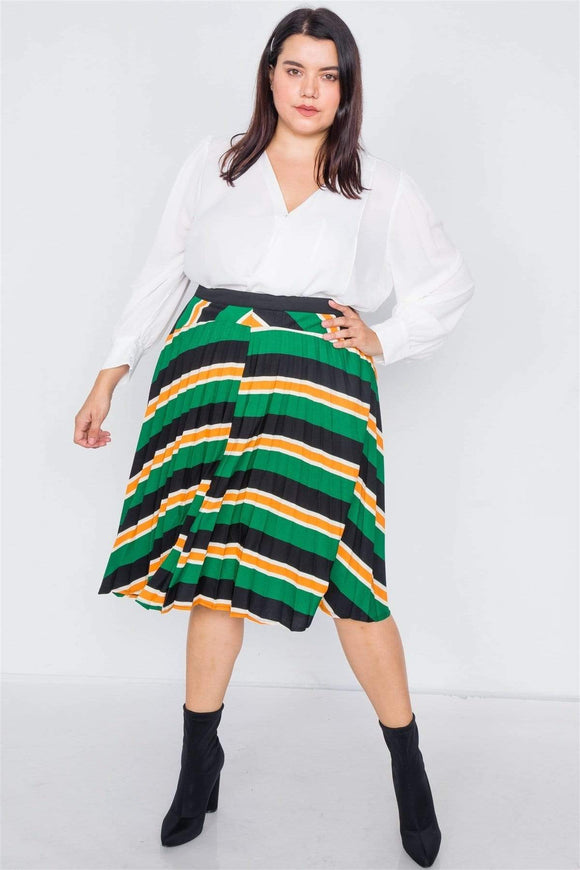 Plus Size Green Multi Stripe Pleated Midi Flare Skirt
