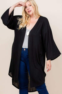 Plus Size Hacci Brush Open Front Long Cardigan- Black