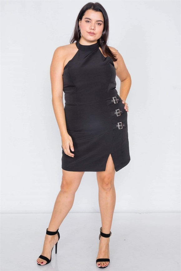Dresses Black / 1XL Plus Size Halter Buckle Hip Mini Dress