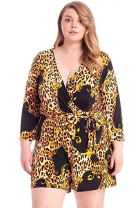 Plus Size Leopard Print Loose Fit Shorts Romper