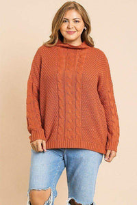 Sunset / XL Plus Size Long Sleeve Cable Knit Pullover Sweater- Assorted Colors
