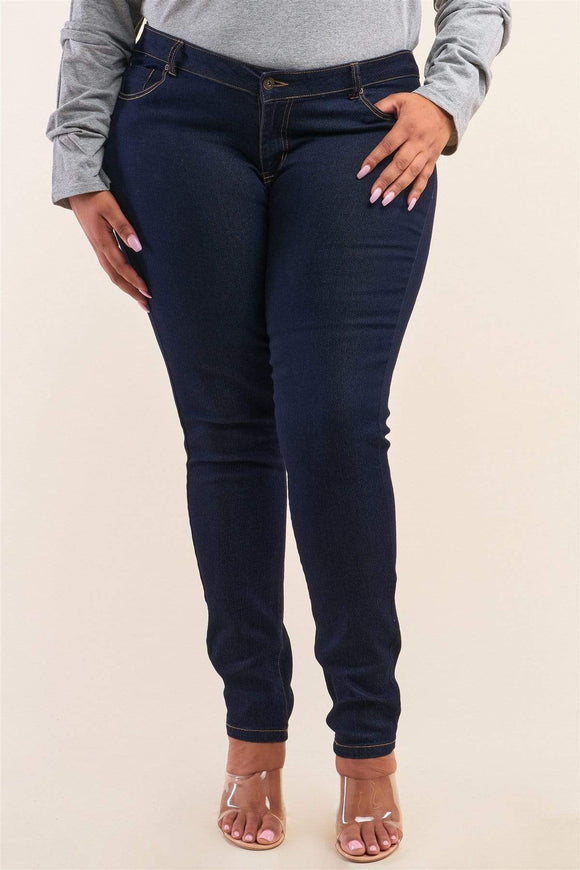 Plus Size Low-mid Rise Straight Cut Jeans- Medium/Dark Blue