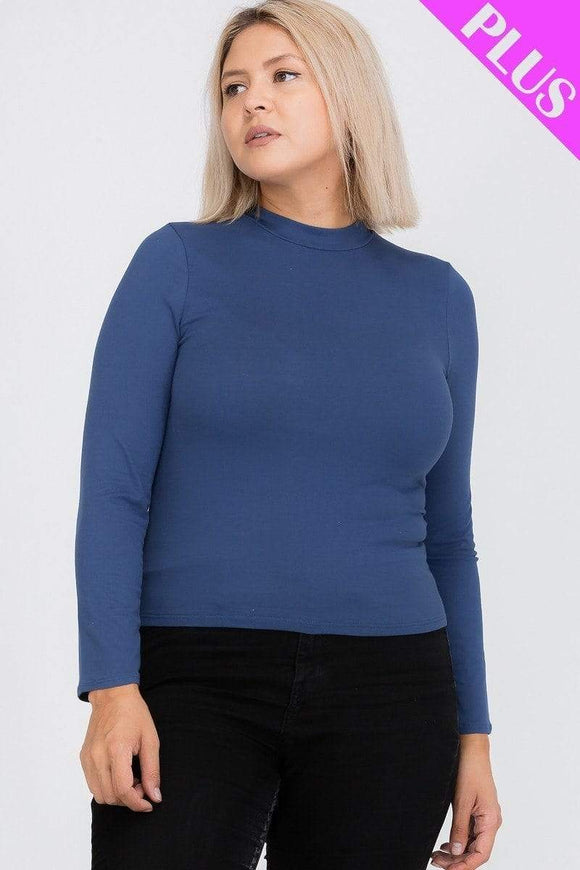 Plus Size Mock Neck Solid Top- Assorted Colors