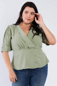 Tops Sage Green / XL Plus Size Mock Side Button Peplum Top