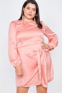 Dresses Salmon / 1XL Plus Size Mock Wrap Mini- Salmon/Black