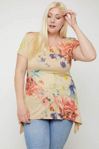 Tops Plus Size Multi-colored Watercolor Flower Print Tunic