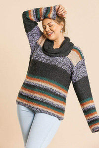 Plus Size Multicolor Striped Fuzzy Knit Sweater- Assorted Colors