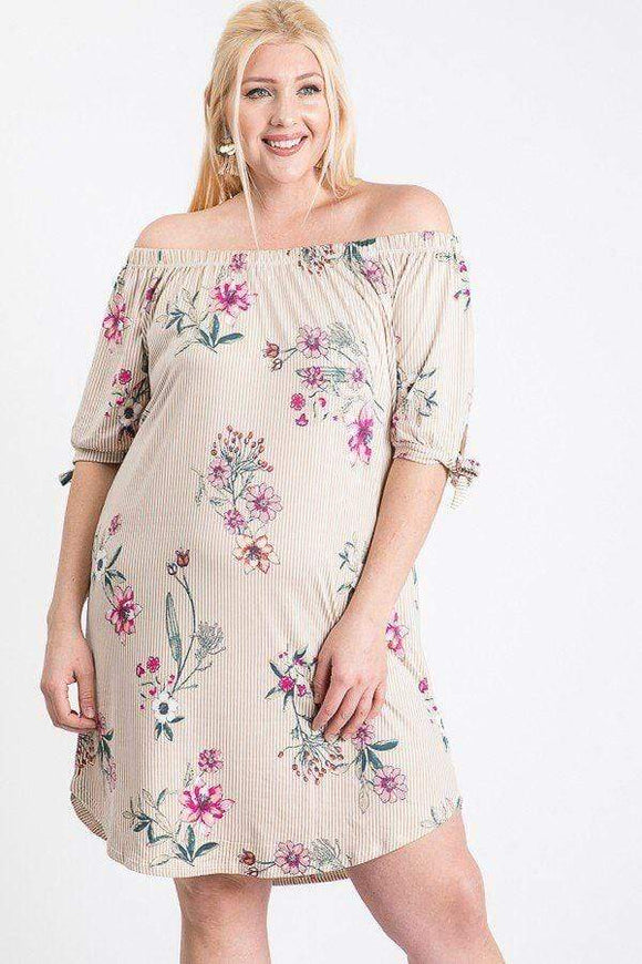 Dresses Plus Size Off Shoulder Floral Dress